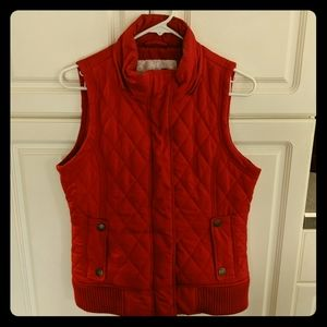Red puffer vest